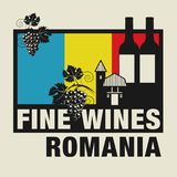Stamp or label with words Fine Wines, Romania. Vector illustration Stock Photography