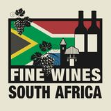 Stamp or label with words Fine Wines, South Africa. Vector illustration Stock Image