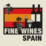 Stamp or label with words Fine Wines, Spain. Vector illustration Stock Photos