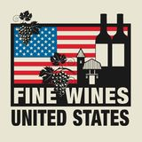 Stamp or label with words Fine Wines, United States. Vector illustration Royalty Free Stock Photos