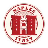 Stamp or label with words Naples, Italy. Inside, vector illustration Royalty Free Stock Images