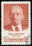 Stamp with Lenin, macro Stock Photography