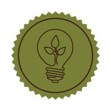 Stamp light bulb flat icon with leaf inside Stock Images