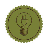 Stamp light bulb flat icon with plug shape Royalty Free Stock Photos