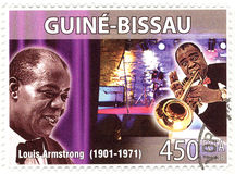 Stamp with Louis Armstrong royalty free stock image