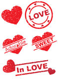 "Stamp of Love. Here are various Stamps to jazz up your Lovely Design.. Stamps Like ""Adorable"" Sweet"" and Love Royalty Free Stock Photography"