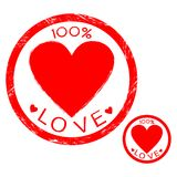 Valentine`s day. Stamp 100% love,with a heart for love or for Valentine`s day Vector Illustration