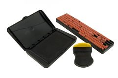 Stamp Making Kit. With stamp, ink pad and rubber letters and numbers Stock Image