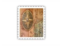 Stamp with map Stock Photography