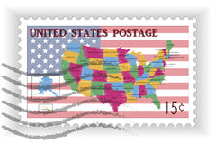 Stamp with Map and Flag of USA Stock Photo