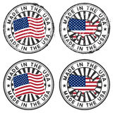 Stamp with map, flag of the USA. Made in the USA. Two forms: grunge and tidy Royalty Free Stock Photography