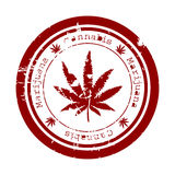 Stamp with marijuana leaf Stock Images