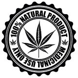 Stamp with marijuana leaf emblem. Cannabis leaf silhouette symbol. Vector
