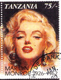 Stamp with Marilyn Monroe. Vintage stamp with Marilyn Monroe royalty free stock photography