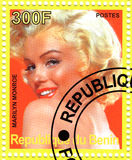 Stamp with Marilyn Monroe. Vintage stamp with Marilyn Monroe stock photo