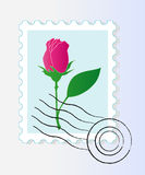 Stamp mark with rose. Vector stamp mark with pink rose Royalty Free Stock Photography