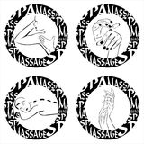 Stamp massage, spa, hand cream, manicure sign Royalty Free Stock Photo