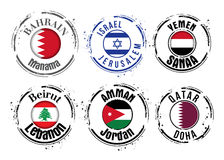 Stamp of Middle East cities Stock Photo