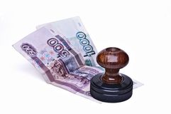 Stamp and money Stock Image