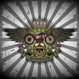 Stamp Moto club with a skull and wings Royalty Free Stock Photo