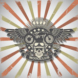 Stamp Moto club with a skull and wings Royalty Free Stock Photos