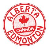 Stamp with name of Canada, Alberta and Edmonton. Grunge rubber stamp with name of Canada, Alberta and Edmonton written inside the stamp, vector illustration Stock Images