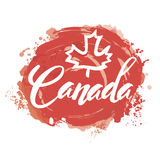 Stamp with name of Canada. Canada lettering logo with watercolor element isolated. stamp with name of Canada hand drawn in vector Stock Images