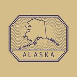 Stamp with the name and map of Alaska, United States. Vector illustration Stock Images