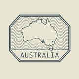 Stamp with the name and map of Australia. Vector illustration royalty free illustration