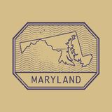 Stamp with the name and map of Maryland, United States. Vector illustration Stock Photo