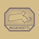 Stamp with the name and map of Massachusetts, United States. Vector illustration Royalty Free Stock Photography