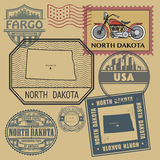 Stamp with the name and map of North Dakota Royalty Free Stock Photo