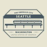 Stamp with name of Washington, Seattle Stock Photos