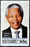Stamp with Nelson Mandela. REPUBLIC OF SOUTH AFRICA - CIRCA 1994: A stamp printed in RSA shows Nelson Mandela, circa 1994 Royalty Free Stock Image