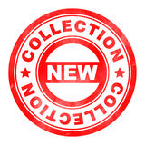 Stamp of New collection. Red, round Stock Photography