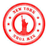 Stamp of New York. Red, round Stock Images