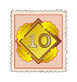 Stamp with number 10 Stock Photo