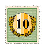 Stamp with number 10 Royalty Free Stock Image