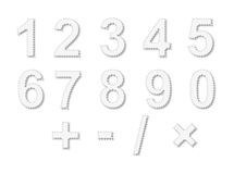 Stamp numbers - cdr format. Numbers from zero to nine and math signs made from stamps Stock Images