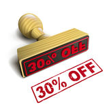 Stamp 30% off with red text on white. Stamp 30% off with red text over white background Royalty Free Stock Photos