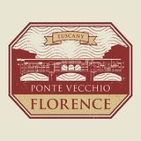 Stamp with old bridge and the name of Florence, Tuscany. Grunge rubber stamp with old bridge and the name of Florence, Tuscany written inside, vector Royalty Free Stock Photo