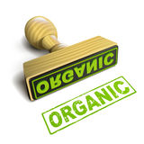 Stamp organic with green text on white Stock Photography