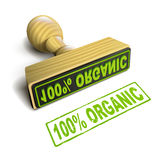 Stamp 100% organic with green text on white Royalty Free Stock Image