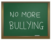 Stamp out bullying. Illustration depicting a green chalk board with the words 'no more bullying' written on it in white chalk Stock Photography