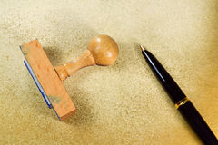 Stamp and pen B Stock Photo