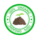 Stamp 100 Percent Organic. Eco icon stamp with text 100 percent organic. Green sprout in pile of ground. Vector illustration flat design Royalty Free Stock Image