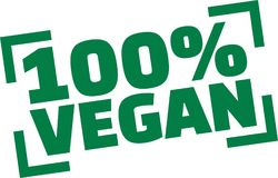 Stamp with 100 percent Vegan. Vector royalty free illustration