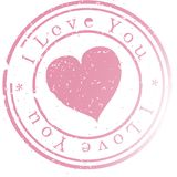 Stamp. Pink. Stamp -I love you-. Pink. Vector illustration Royalty Free Stock Photo
