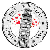 Stamp Pisa tower in Italy, royalty free illustration