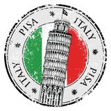 Stamp Pisa tower in Italy, vector Royalty Free Stock Images
